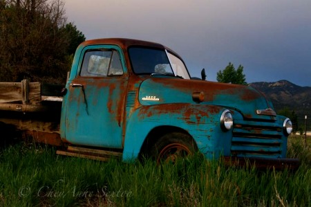 old blue chevy in field