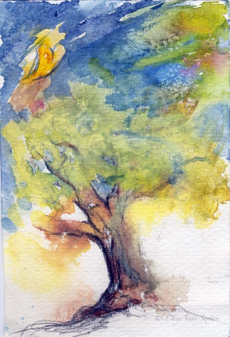 watercolor doodle tree and heart