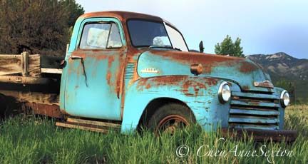 Old Blue Chevy in the Field Rusty
