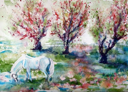 Sugar in the Apple Orchard Meadow  watercolor