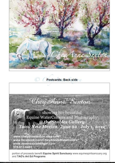 Post Card of my First Stables Gallery TAOS Horses Art Show, Taos, New Mexico, 87564, June 22- July 1, 2012