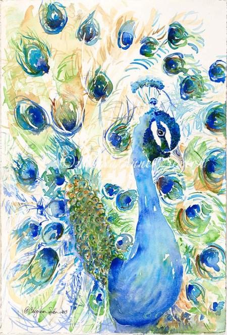 Ultramarine Blue Peacock watercolour on paper by CheyAnne Sexton