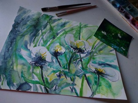 white waterflowers artdesk