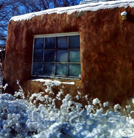 snowy Taos Adobe and Frosty window