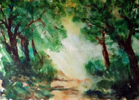 'Beyond the Woods'   ~  watercolor on paper  ~ original 9x12