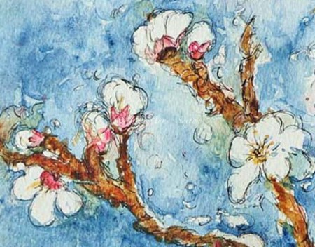 'Plum Blossoms'    watercolor on paper original 9x12    (cropped)