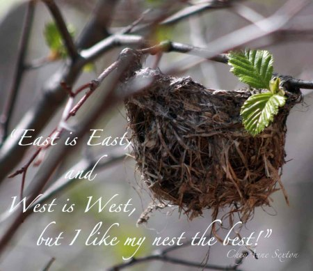 East is east and West is west, but I love my nest-the-best....