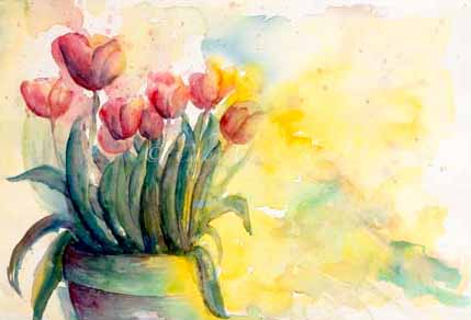 Tulips in CandleLight on Paper by CheyAnne Sexton