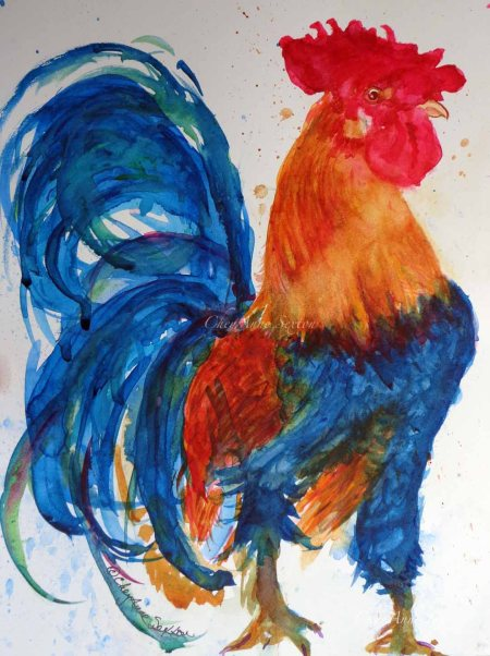 'Rooster Proud' ~ watercolor on paper ~ 9x12