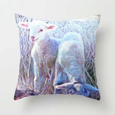 pink tipped lambs Pillow