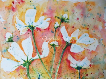 'White cosmos over Orange' watercolor on paper 9x12 CheyAnne Sexton