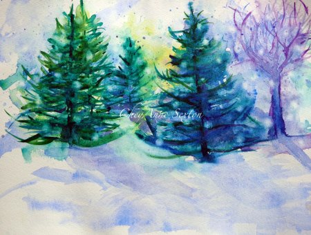 Pine Tree Forrest watercolour by CheyAnne Sexton
