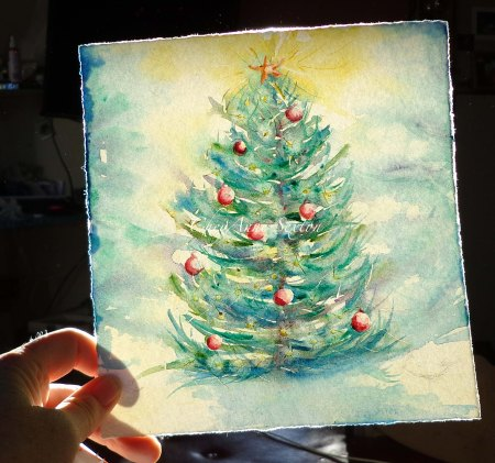 Christmas Tree watercolour by CheyAnne Sexton