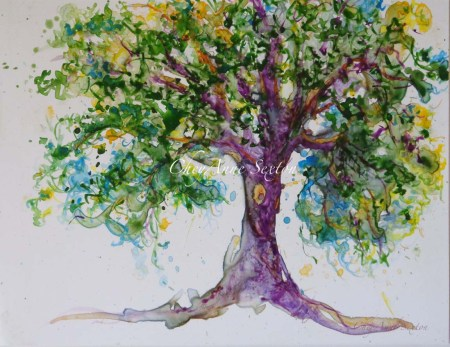 Tree of Purple watercolour on Yupo by CheyAnne Sexton