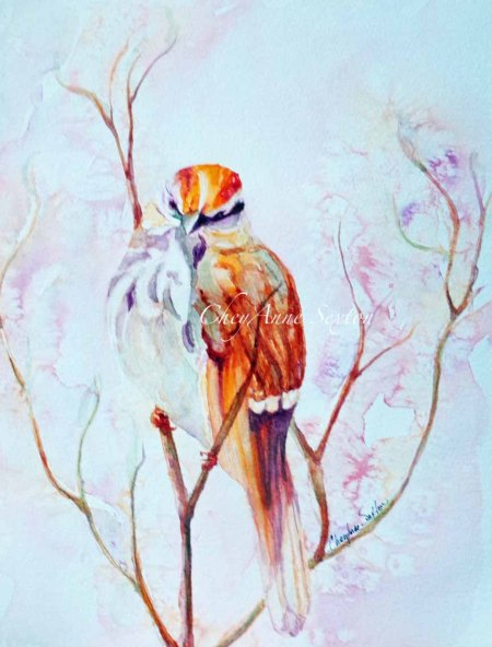 'Song Sparrow Tangled in Pink' watercolur on paper by CheyAnne Sexton