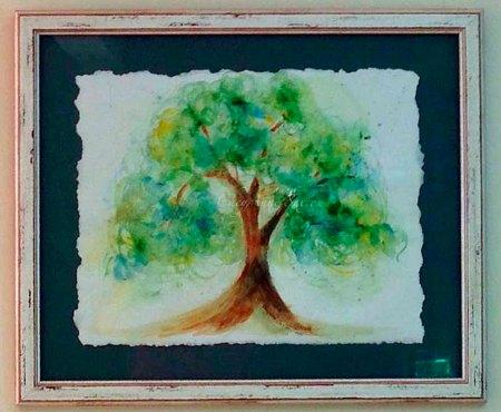 Danielle's custom spring-green-tree in it's new home
