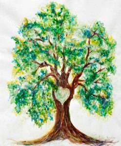 "Large Love Heart Tree 31""x43"" big Original"