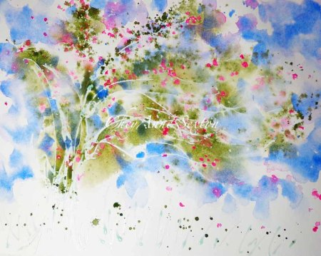 Colbalt Sky Over Opera Rose blossoms and Olive Green WaterColour Tree