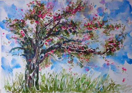 wc Pink spring Tree by CheyAnne Sexton watercolour on paper
