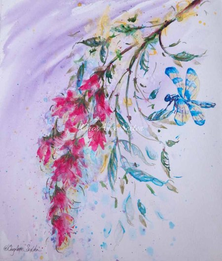 DragonFly and Opera Pink watercolor on Paper by CheyAnne Sexton