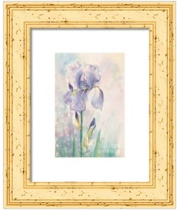 My Iris watercolor with gold frame