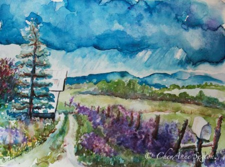 my Dames Rocket Ranch watercolor on Paper by CheyAnne Sexton