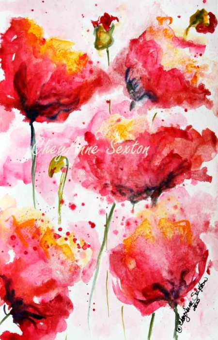 Poppies Galore watercolor by CheyAnne Sexton