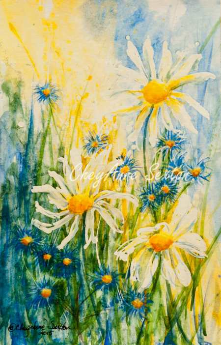 Blue flowers in fresh White Daisies watercolor