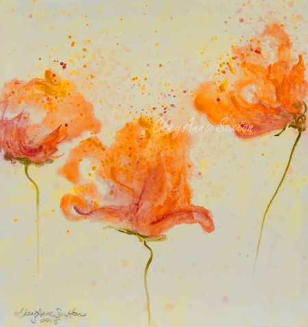Annie's Poppies watercolor on paper by CheyAnne Sexton